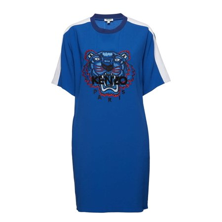 Kenzo Ladies Blue Crepe Tiger Dress, Brand Size Medium Kenzo Ladies Dresses. SKU: F952RO0645AC-74. Color: Blue. Kenzo Ladies Blue Crepe Tiger Dress. This dress from Kenzo features a contrasting round neckline, short sleeves with contrasting bands and a Kenzo tiger and logo embroidered on the front. Materials: 82% Triacetate, 18% Polyester.
