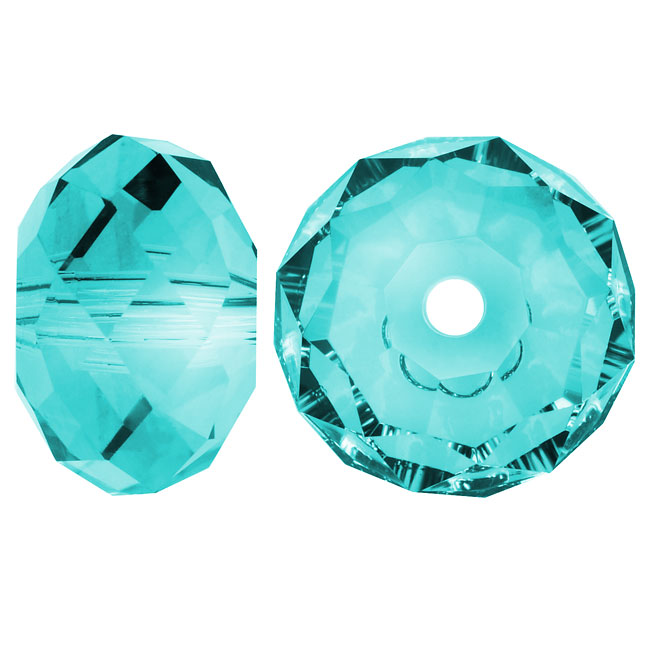 Swarovski Crystal, #5040 Rondelle Beads 12mm, 2 Pieces, Light Turquoise