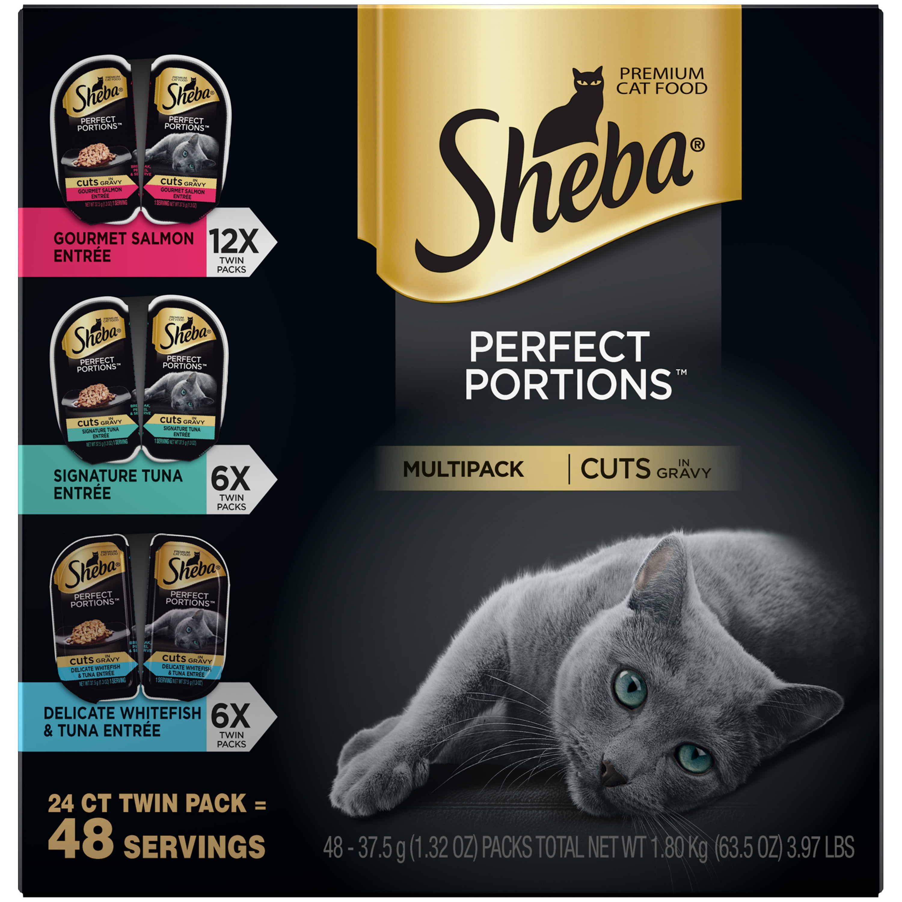 Sheba Perfect Portions Cuts In Gravy Multipack Gourmet Salmon, Signature Tuna, Delicate Whitefish & Tuna Grain Free Wet Cat Food 2.6 Ounces (6 Twin Packs)