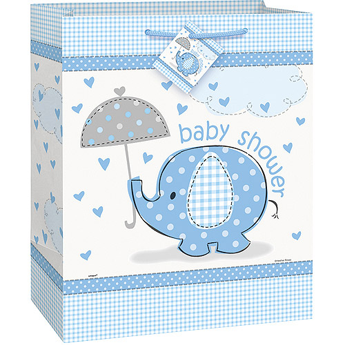 Elephant Baby Shower Gift Bag, 13 x 10.5 in, Blue, 1ct