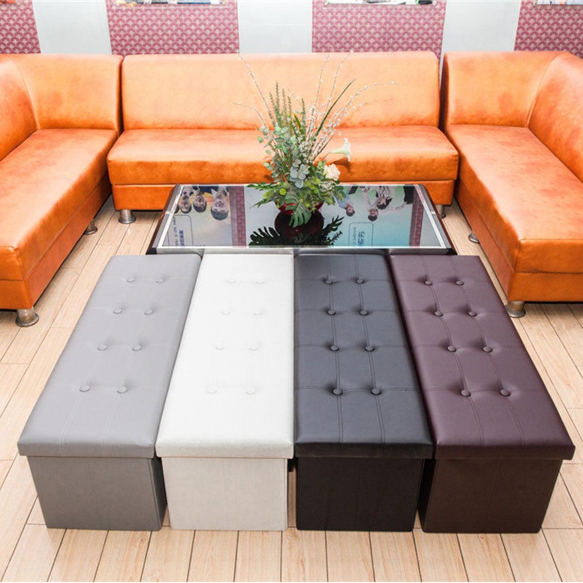 Folding Ottoman Storage Box Bedroom Living Room Footstool Chest Bench Grey Beige