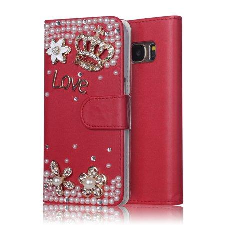 - Samsung Galaxy S8 Plus Wallet Case, MINI-FACTORY Bling Premium Flip PU Leather Glitter Rhinestone Crystal Diamond Crown Cover - Red