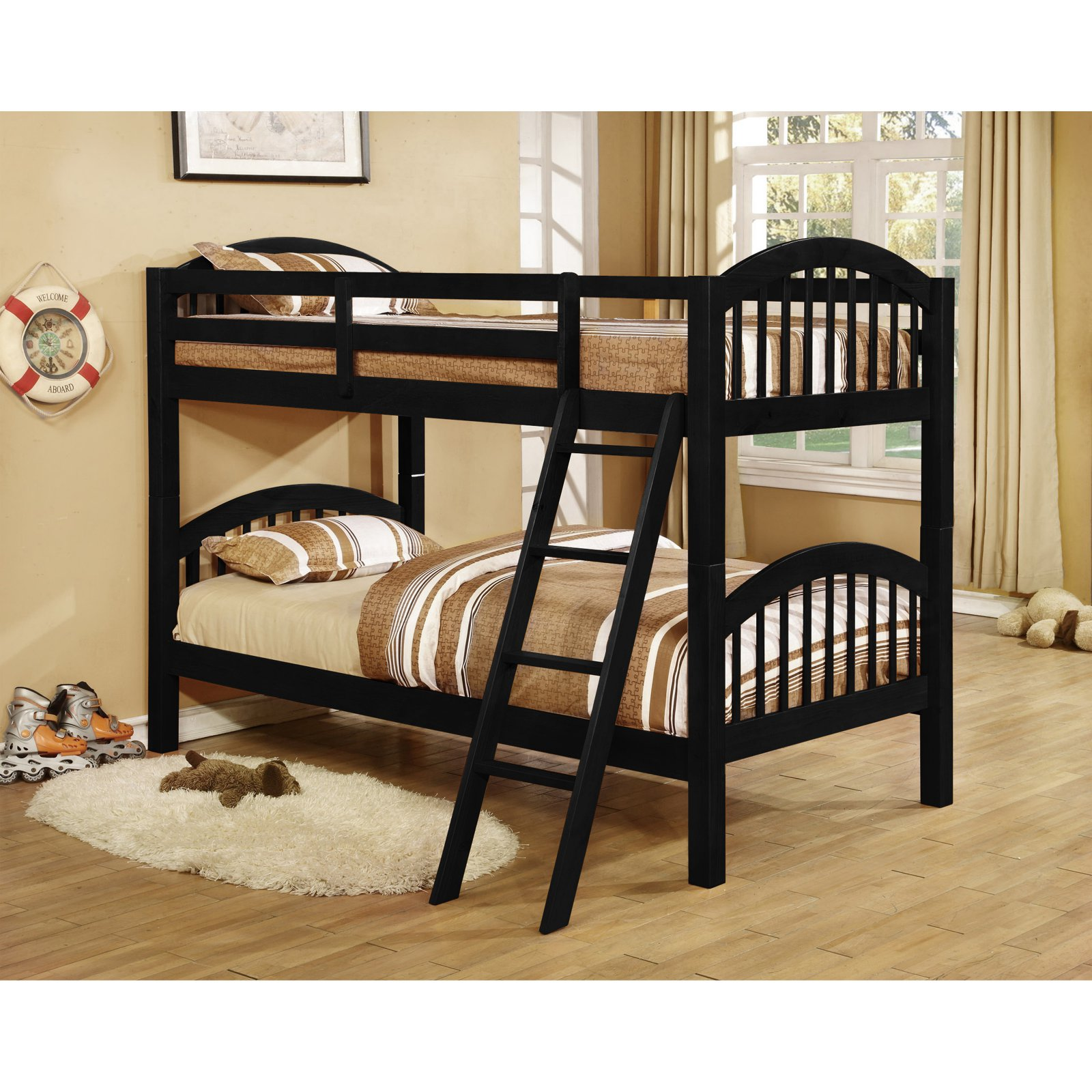 K&B Furniture B125B Arched Twin Over Twin Bunk Bed