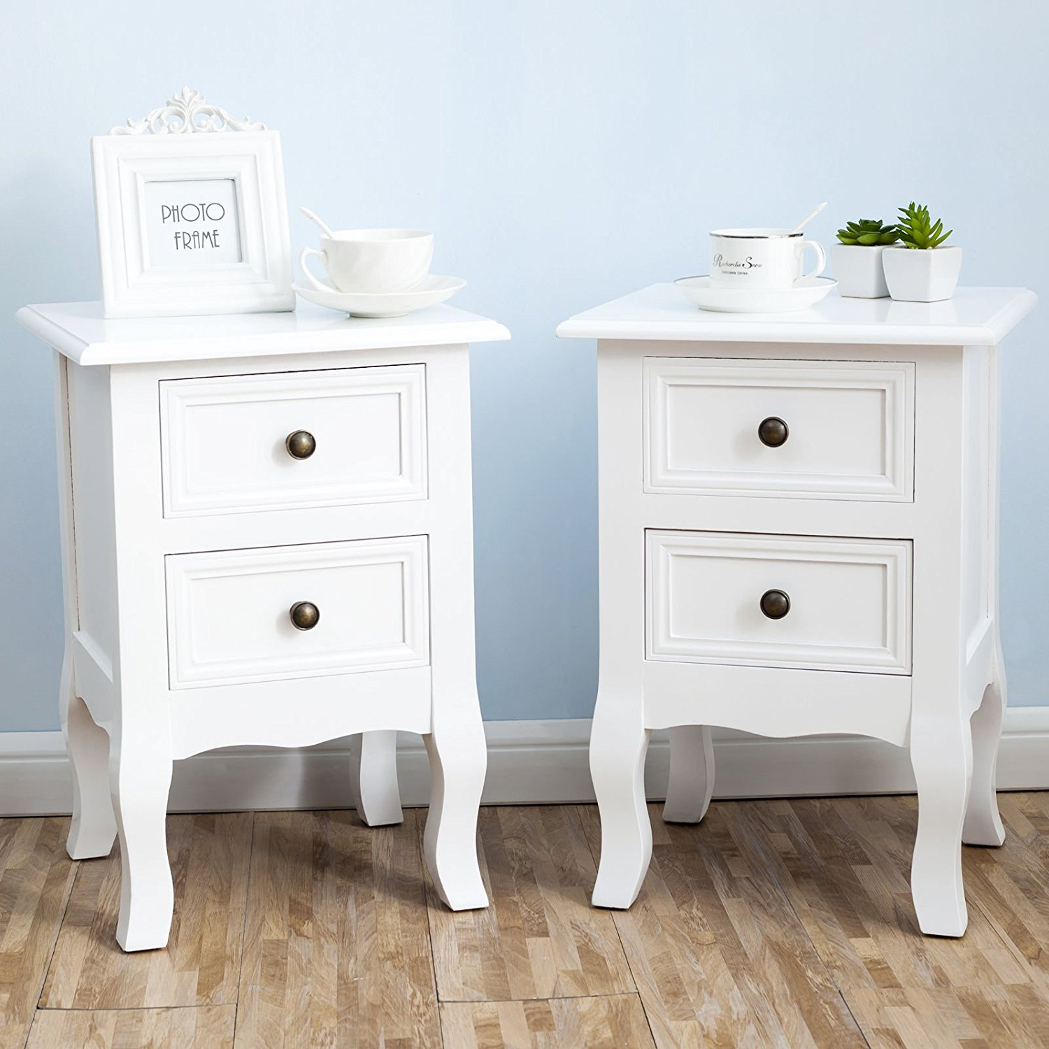White Nightstand Set 2 Bedside End Table Pair Shabby Chick Bedroom Furniture by Uenjoy