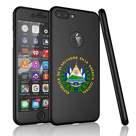 For Apple iPhone 360° Full Body Thin Slim Hard Case Cover + Tempered Glass Screen Protector El Salvador Escudo Coat Of Arms (Black For iPhone 8 Plus) (Iphone El Ultimo)