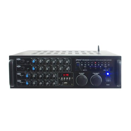 2000 Watt BT Stereo Mixer Karaoke Amplifier, Microphone/RCA Audio/Video Inputs, Mic-Talkover, USB/SD Readers, Rack Mountable Amp