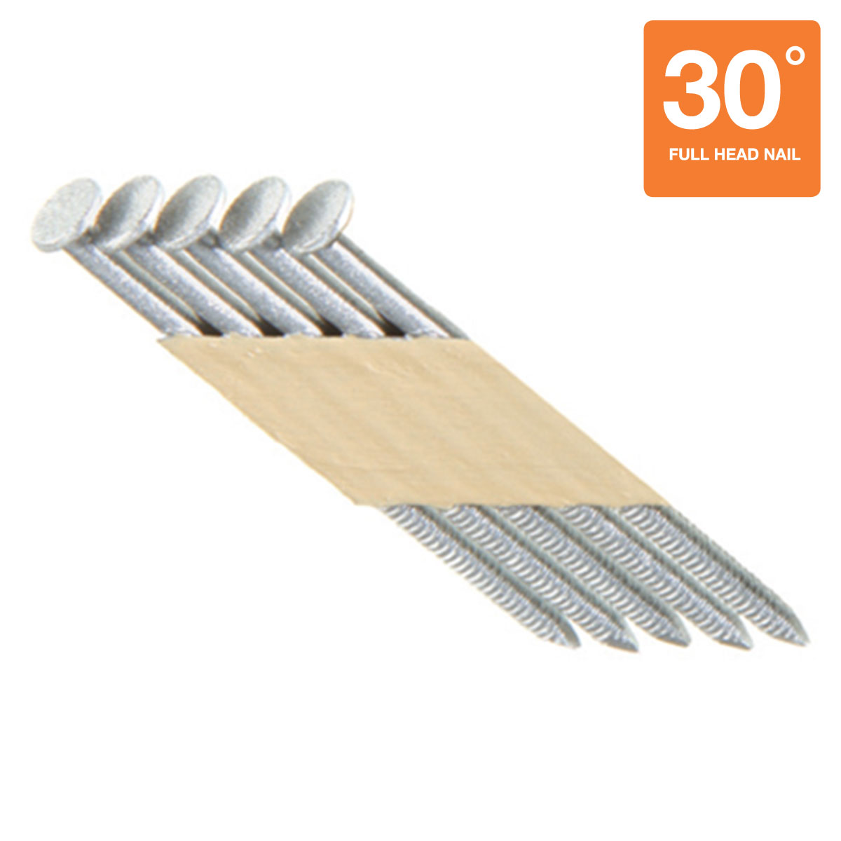 """3"""" x 0.131"""" Framing Nails 1000 Count Box - Stainless Steel 30 Degree Paper Tape Offset Head Collated Nails"""