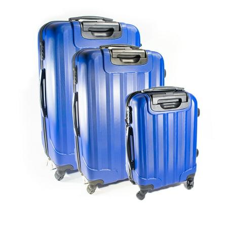 ALEKO ABS Hardside Embossed Stripe 3 Piece Luggage Set with Lock