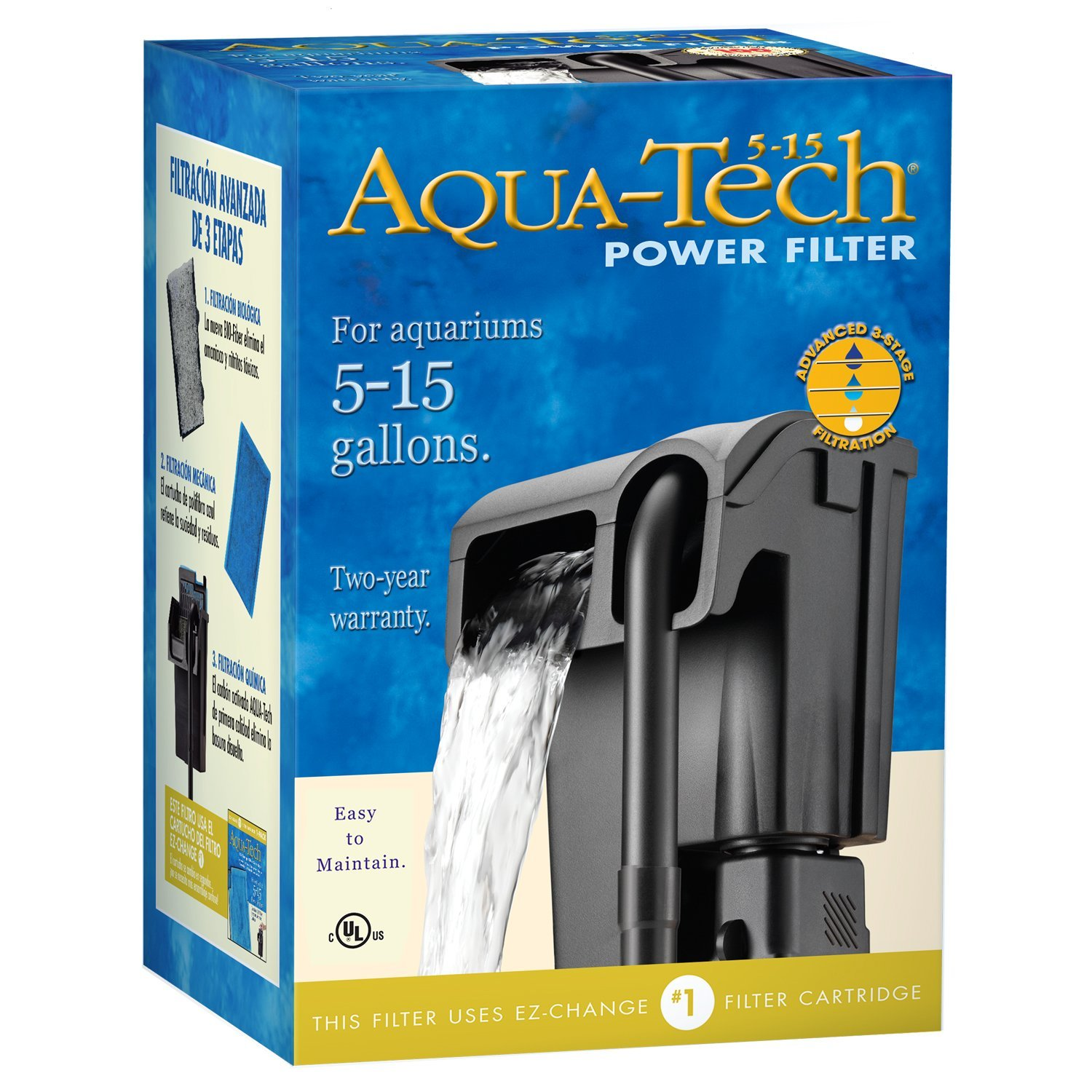 Aqua-Tech Power Aquarium Filter, Water 3in1 aquariums Tube Mount 20403060 Filters Aquarium Hanging EZChange 3Pack 70GPH 10 Head 15 15Inch Media For 2040.., By AquaTech