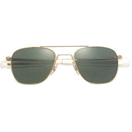 AO Original Pilot Sunglasses with Gold Bayonet Temples and True Color Gray Polarized Glass Lenses