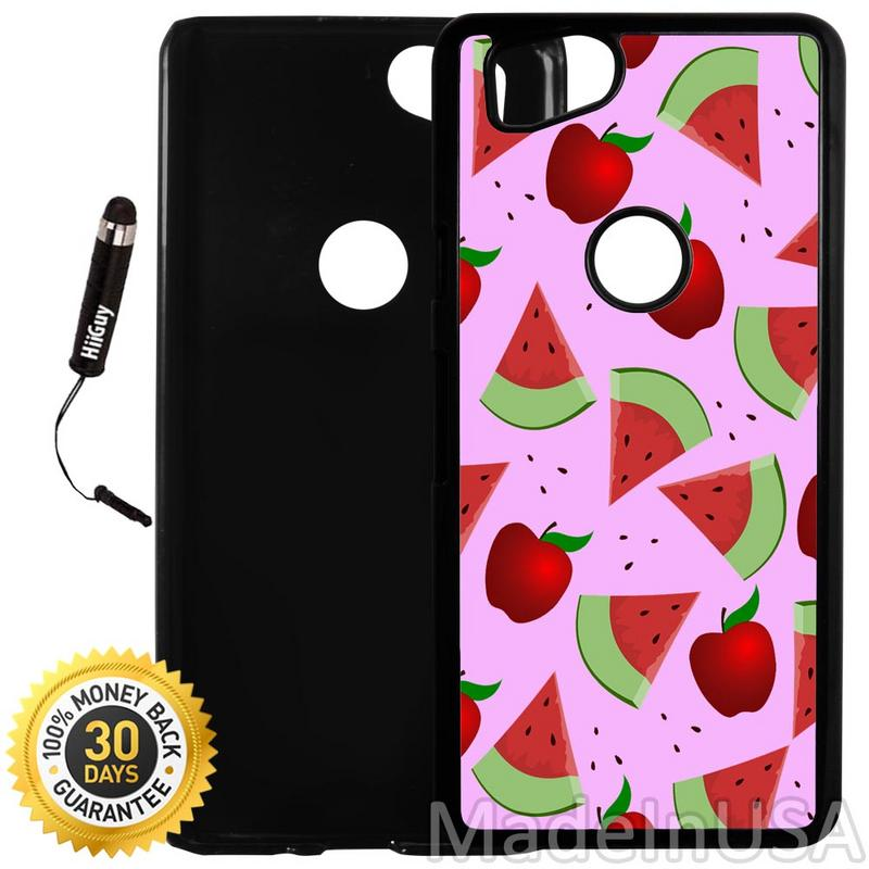 Custom Google Pixel 2 Case (Apple Watermelon Pattern) Plastic Black Cover Ultra Slim | Lightweight | Includes Stylus Pen by Innosub