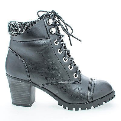 Lace Up Knitted Cuff Lug Sole Platform Stacked Heel Boots