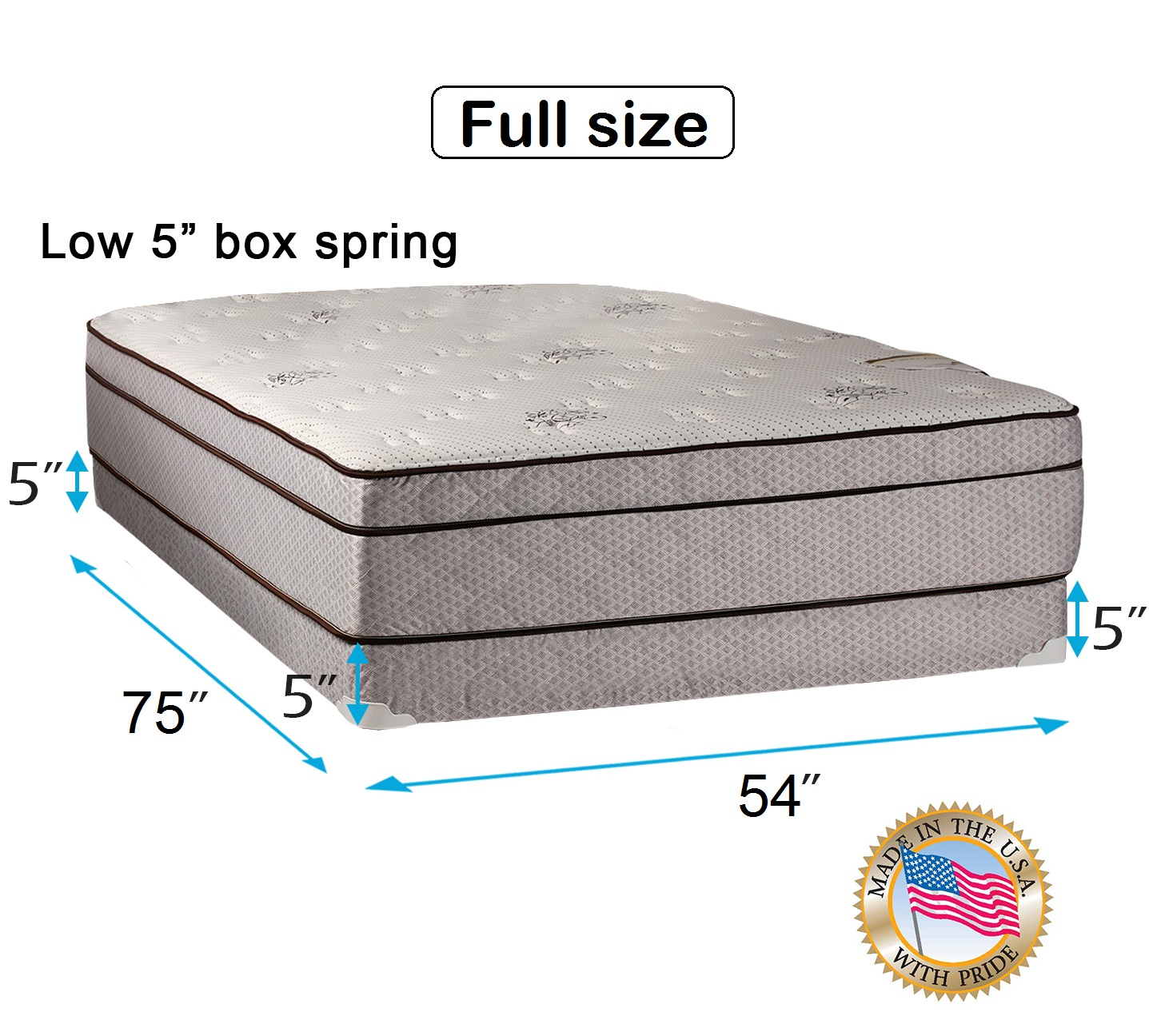 Dream Solutions USA Fifth Ave Extra Soft Foam Eurotop (PillowTop) Full - 54""