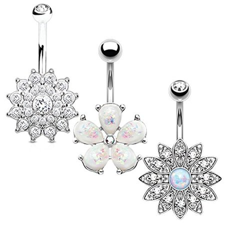 BodyJ4You 3PCS Jeweled Created-Opal Flower Belly Button Ring Set 14G Surgical Steel Curved Navel Barbell