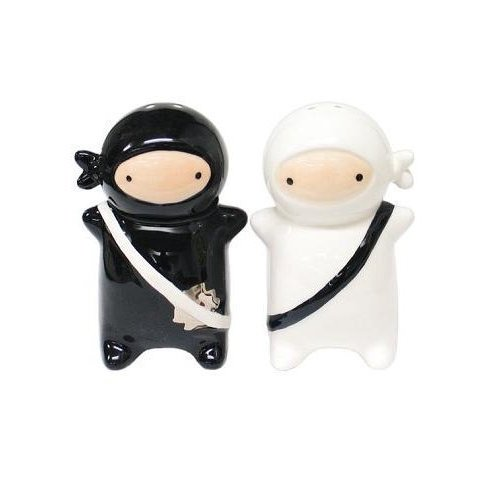 180 Degrees Pj0345 Japanese Ninja Kids Salt & Pepper Shaker Set, Black and White by One Hundred 80 Degrees