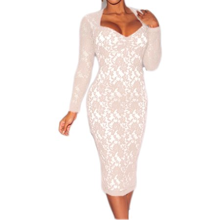 Sweetheart Neck Long Sleeve Padded Midi Lace Dress set with lace panties