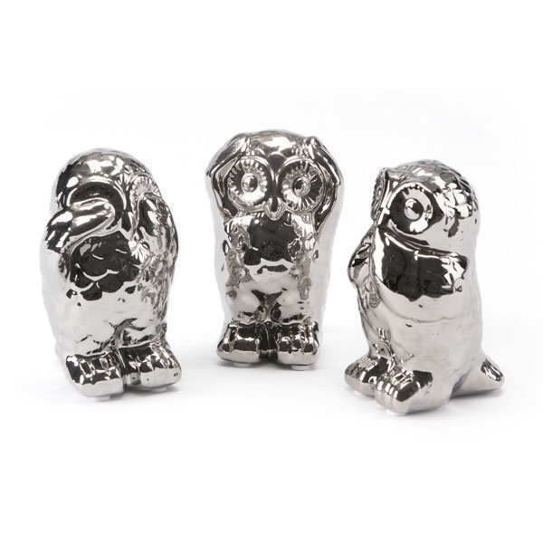 Set Of 3 Owls Silver