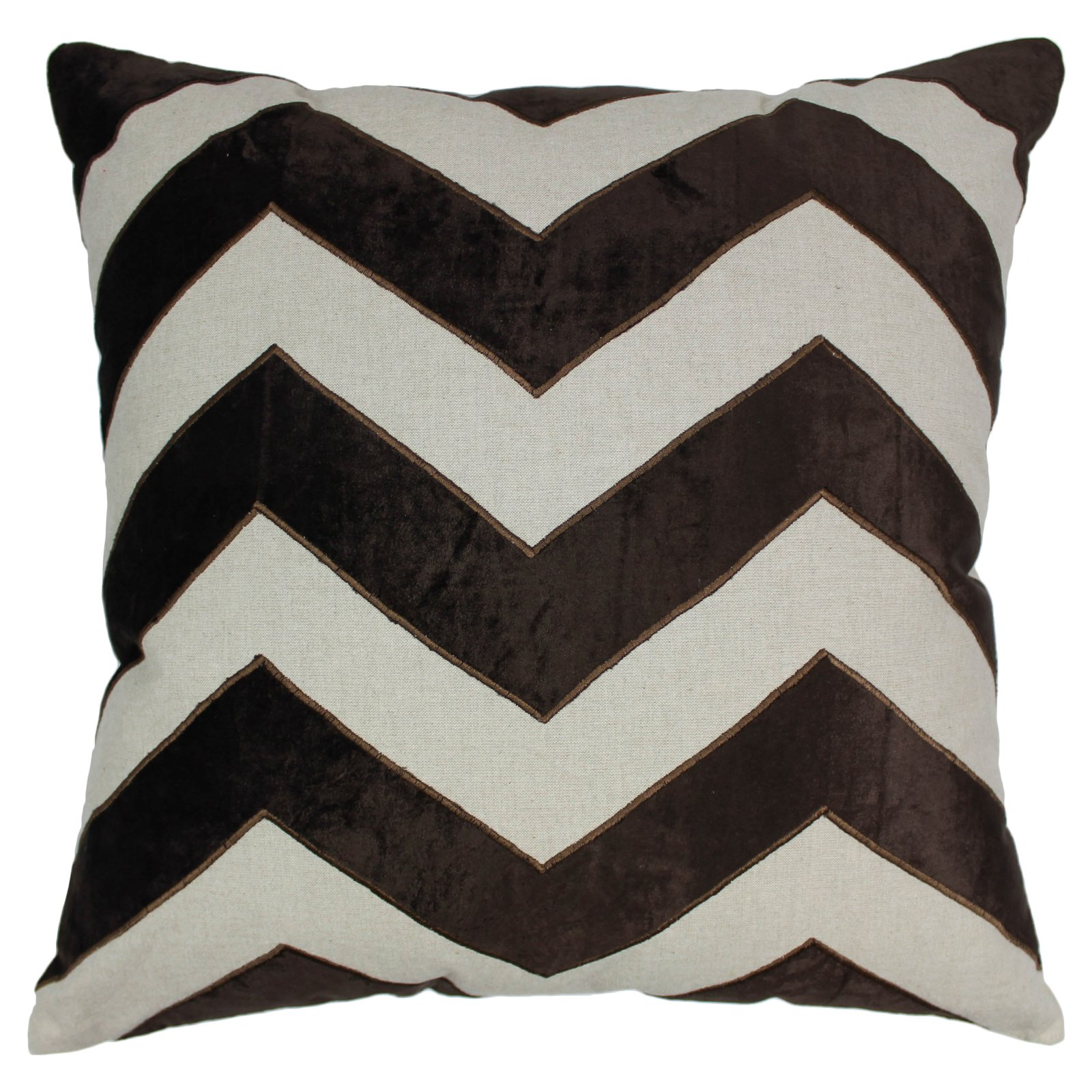 Blazing Needles 20 x 20 in. Indian Chevron Velvet Applique Throw Pillow