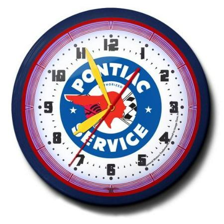 Pontiac Service Neon 20 Wall Clock Auto Made In Usa New Walmartcom