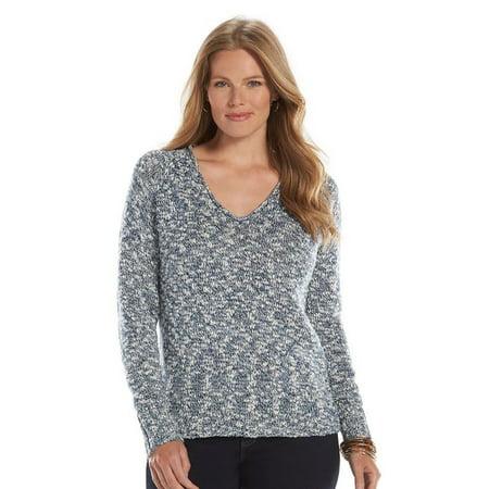Chaps Chaps Marled Sweater Women Plus Size Blue Indigo White