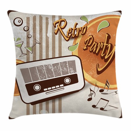 70s Party Decorations Throw Pillow Cushion Cover, Retro Party Theme Art Old Radio Cocktails Floral Details, Decorative Square Accent Pillow Case, 18 X 18 Inches, Orange Dark Brown Beige, by Ambesonne for $<!---->