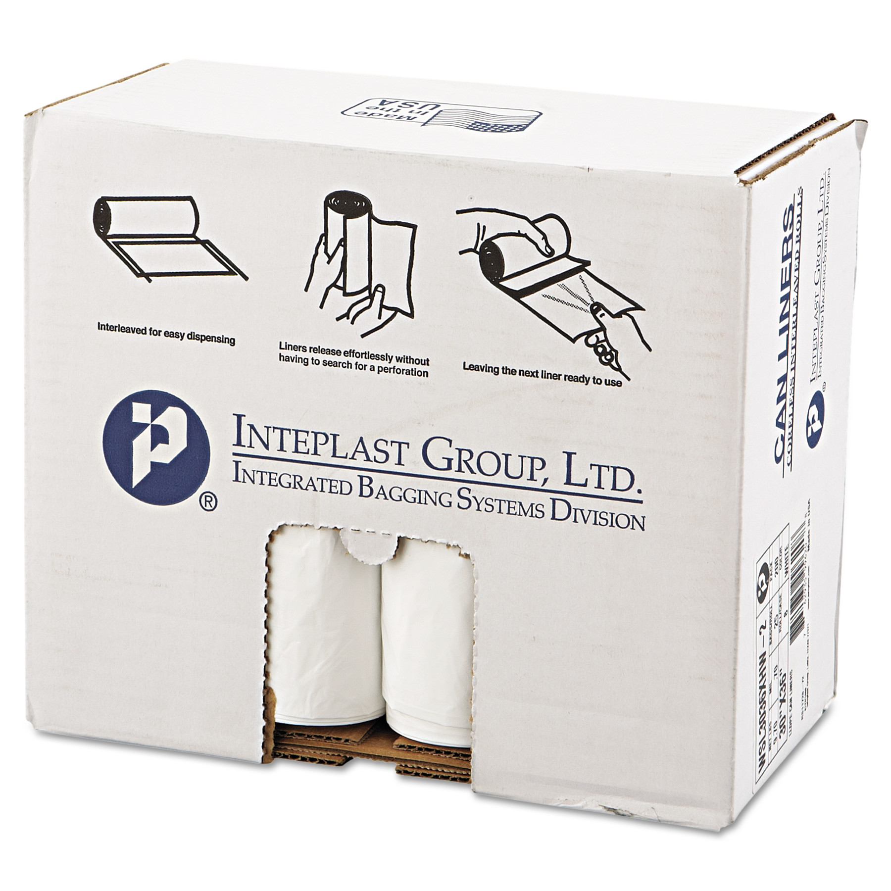 10 Bag per Roll Blk Penny Lane 516 Perforated Coreless Roll Can Liner Case of 10 Rolls 33x39 1.2 Mil