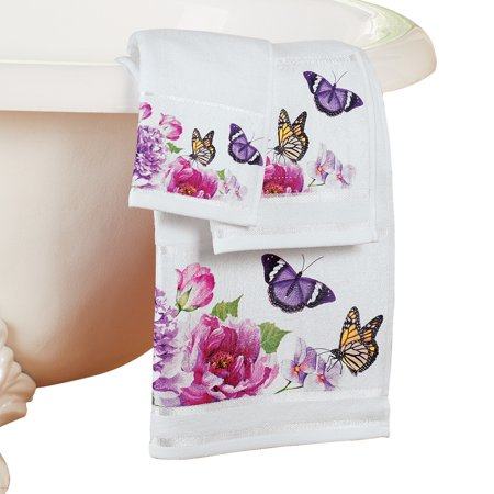 Butterfly Watercolor Floral White 3pc. Spring Summer Bathroom Towel Set - Butterfly Bathroom