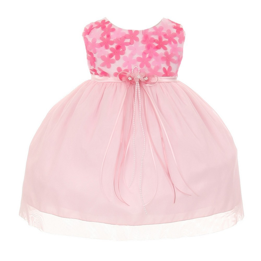 Kids Dream Baby Girls Pink 3D Chiffon Flowers Mesh Special Occasion Dress 24M