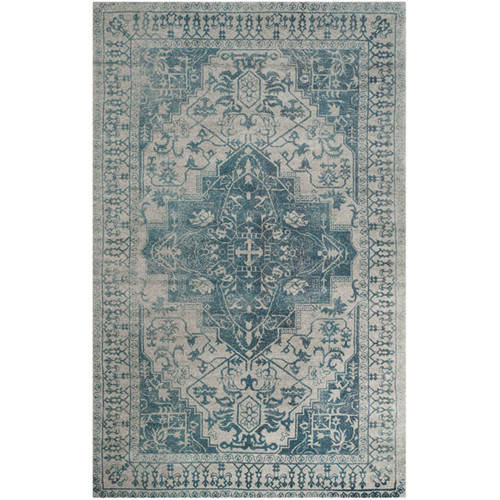 Astoria Grand Mahoney Ivory and Turquoise Area Rug