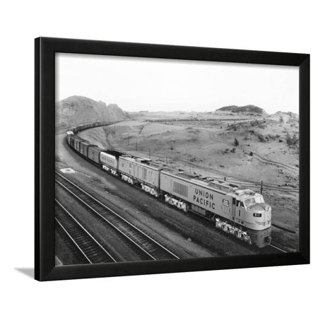 4159800218 Overhead View of Large Freight Train Framed Print Wall Art - Walmart.com