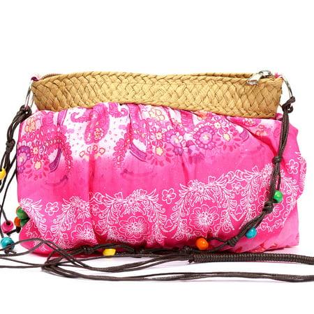 Meigar Bohemia Exotic Floral Straw Weave Strap Cloth Handbag Beach Messenger Bag Small Crossbody -