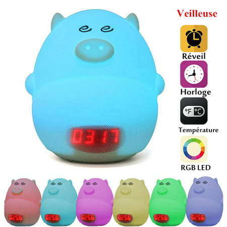 GLIME Night Light Alarm Clock for Kids Cute Pig Children Bedrooms Clock USB LED Lights Silicone Baby Nursery Lamp Color Changing Best