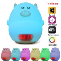 GLIME Night Light Alarm Clock for Kids Cute Pig Children Bedrooms Clock USB LED Lights Silicone Baby Nursery Lamp Color Changing Best Gifts