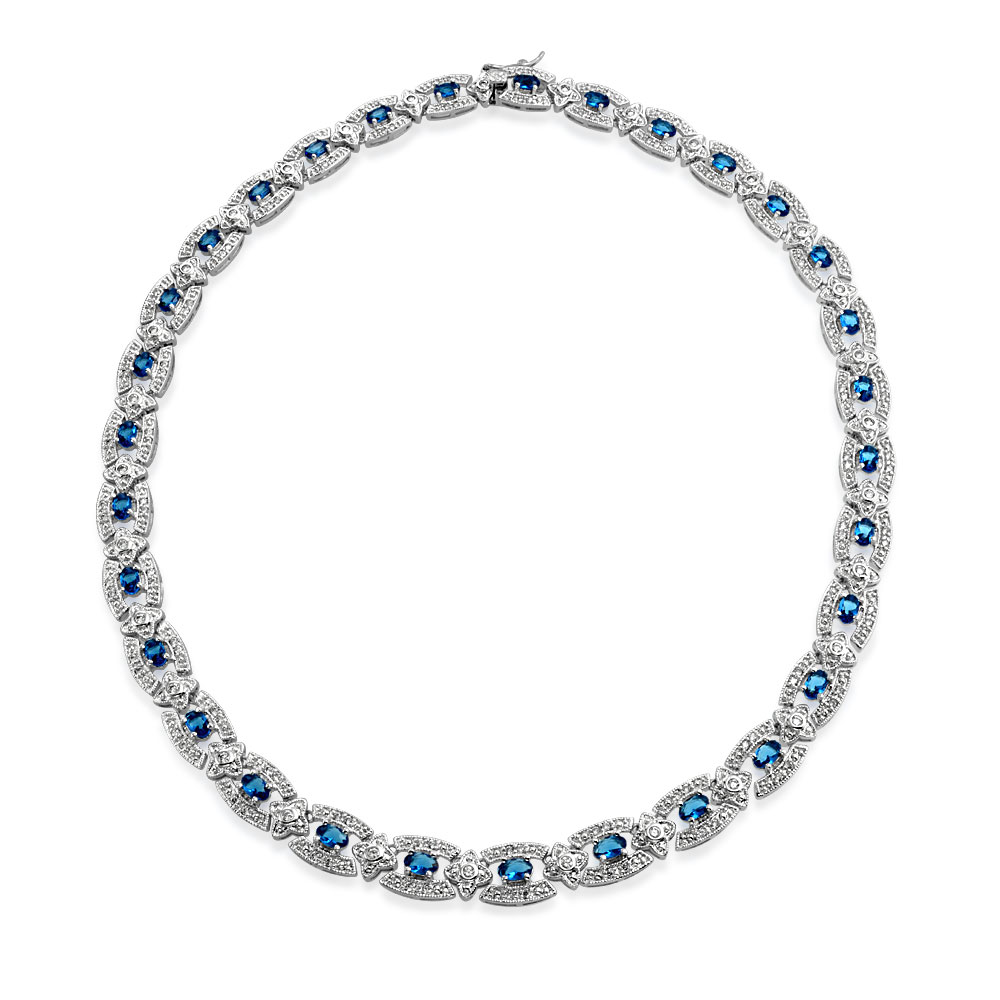 Bling Jewelry Simulated Sapphire Clear Cubic Zirconia Art Deco Style Tennis Necklace Rhodium Plated by Bling Jewelry