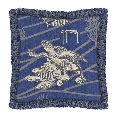 Guy Harvey Outdoor Turtle Mermaid Pillow With Fringe 22 In