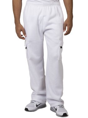 Vibes Men's Fleece Cargo Pants Relax Fit Open Bottom Drawstring