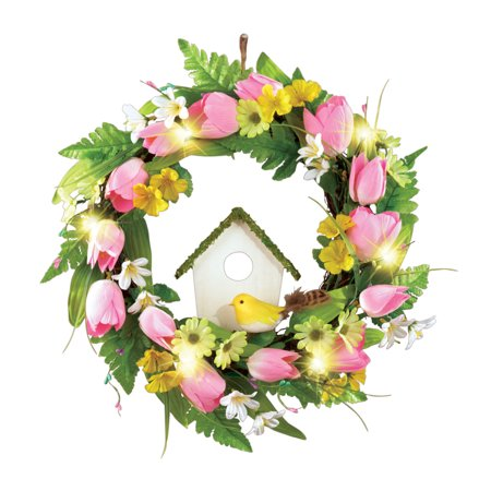 Spring Front Door Wreath Decoration With Tulips Birdhouse Lights