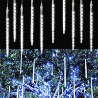 Rain Drop Lights, Meteor Shower Rain LED Lights 12 inch 8 Tubes 144leds, Icicle Snow Falling Lights for Xmas Wedding Party Holiday Garden Tree Christmas Thanksgiving Decoration Outdoor - 4 Color