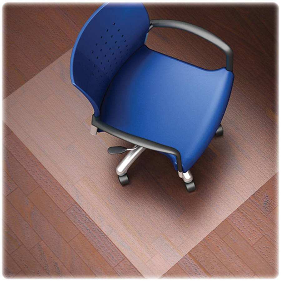 Lorell Nonstudded Design Hardwood Surface Chairmat, Clear