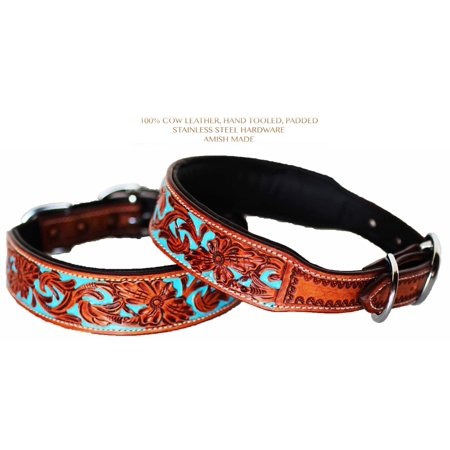 Dog Puppy Collar Hand Tooled and Painted Cow Leather Western