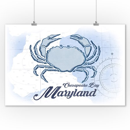 Chesapeake Bay, Maryland - Crab - Blue - Coastal Icon - Lantern Press Artwork (9x12 Art Print, Wall Decor Travel Poster) ()