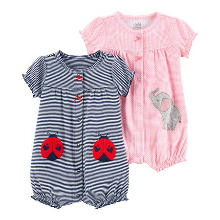Snap up romper, 2- pack (Baby - Pretty Baby Girl