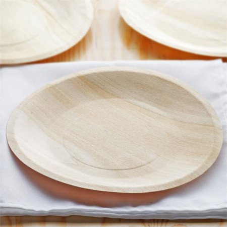 """BalsaCircle 25 pcs 8.5"""" Disposable Natural Birch Wooden Round Plates - Eco Friendly Biodegradable Wedding Party Tableware"""