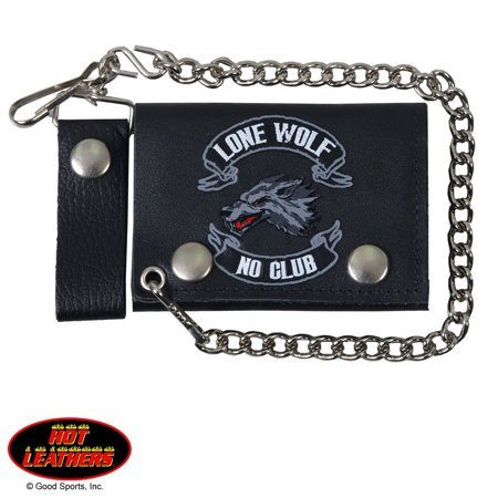 LONE WOLF, NO CLUB, Detachable Chain & Leather Belt Loop Snap, Bikers Tri-Fold Leather WALLET