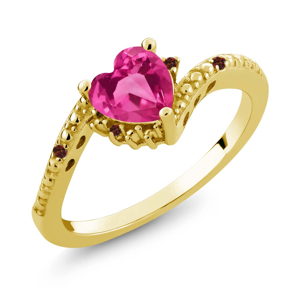 0.83 Ct Heart Shape Pink Created Sapphire Red Garnet 14K Yellow Gold Ring by