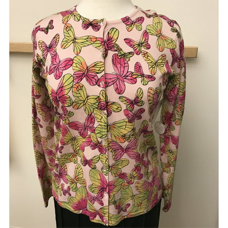 Pink And Lime Butterfly Printed Silk Nylon Sweater Cardigan (Style# 75355) (Sheer Silk Sweater)