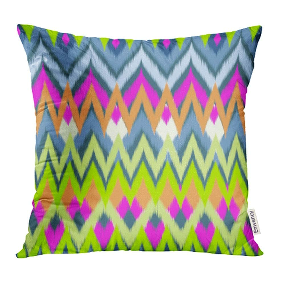 ARHOME Colorful Stripe Neon Tribal Ikat Rainbow Abstract Artistic Bright Child Cool Pillowcase Cushion Cover 16x16 inch
