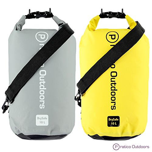 Pratico Outdoors DrySafe 10L Dry Bags (2 Pack 10L Grey & Yellow) by Pratico Outdoors