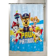 "PAW Patrol Kids Fabric Shower Curtain and Hooks Set, 72"" x72"", 13-Piece, Blue"