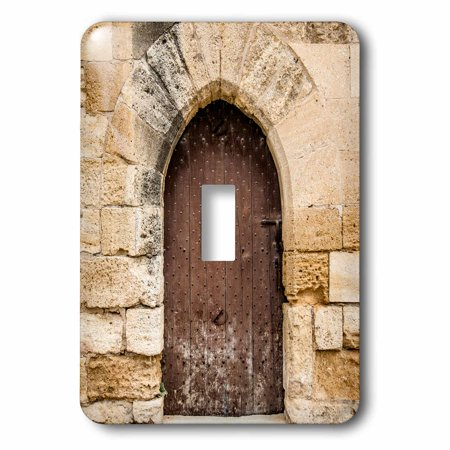 Medieval Single - 3dRose French medieval arched door in stone wall - Single Toggle Switch